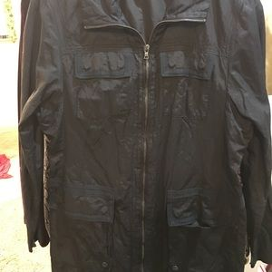 Tahari black crushed jacket.